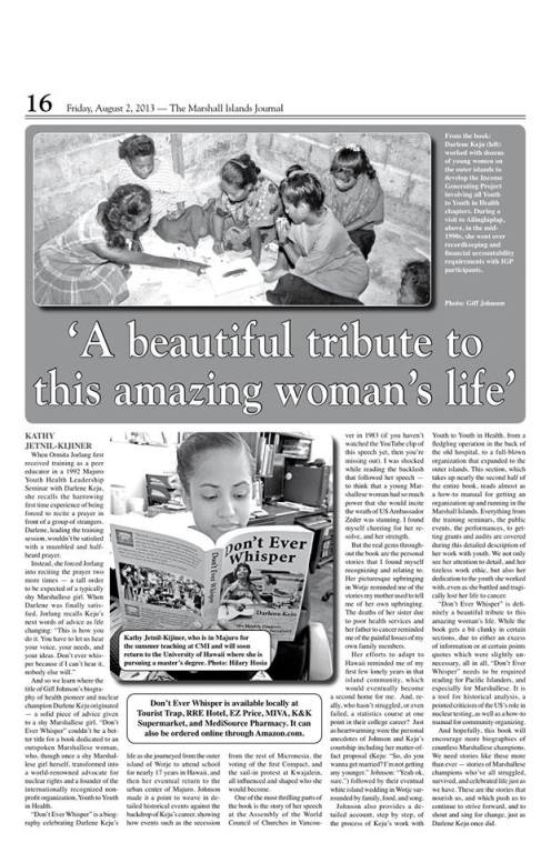 "My review of Giff Johnson's book ""Don't Ever Whisper"" featured in the Marshall Islands Journal"